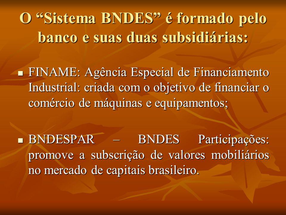 O Sistema BNDES é formado pelo banco e suas duas subsidiárias: