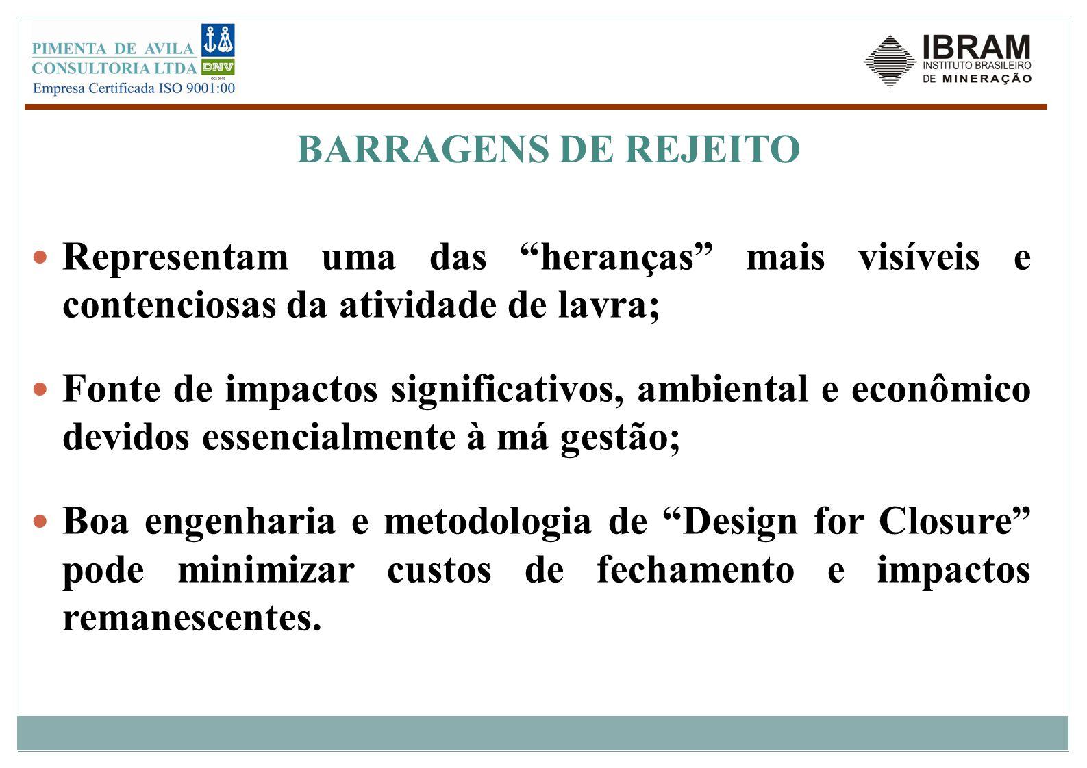 BARRAGENS DE REJEITO Representam uma das heranças mais visíveis e contenciosas da atividade de lavra;