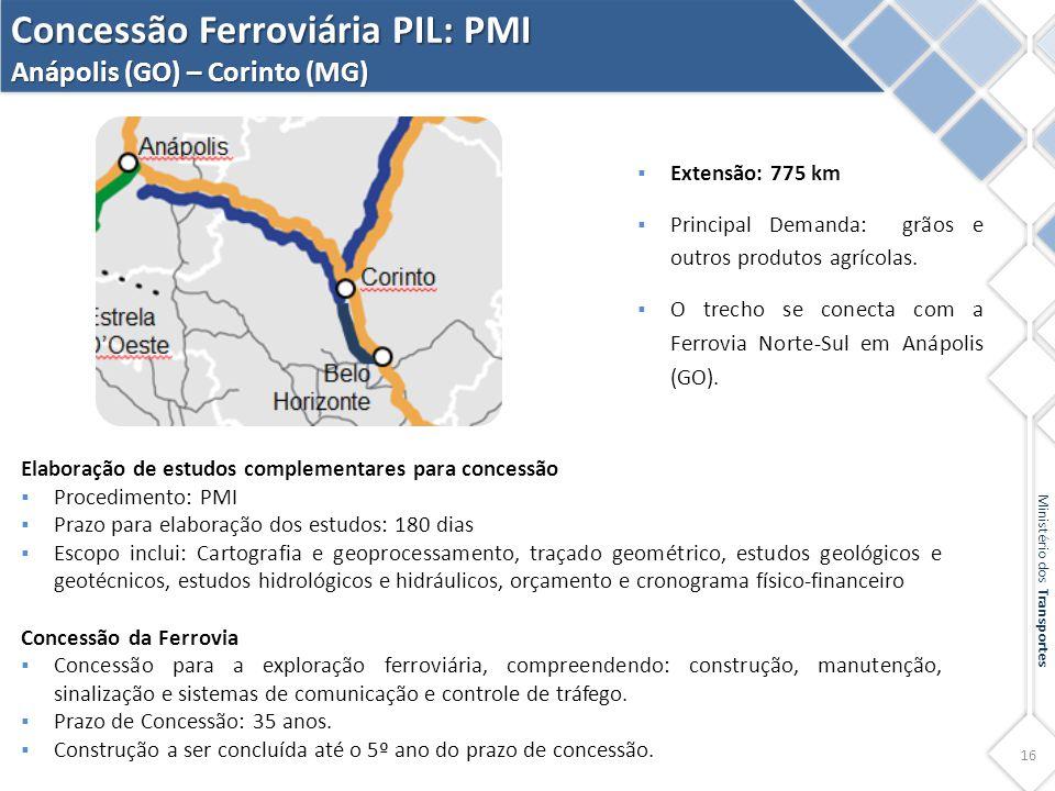 Concessão Ferroviária PIL: PMI Anápolis (GO) – Corinto (MG)