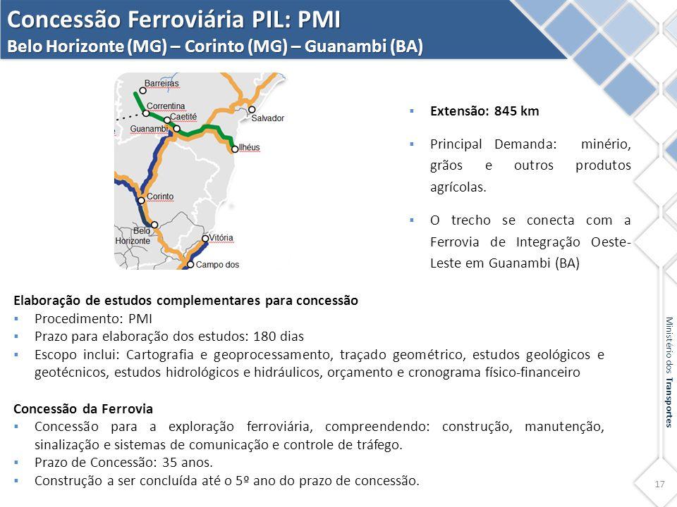 Concessão Ferroviária PIL: PMI Belo Horizonte (MG) – Corinto (MG) – Guanambi (BA)