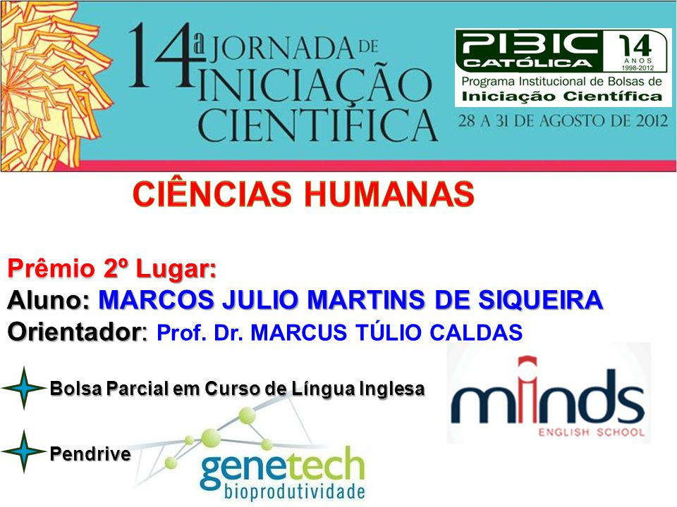 CIÊNCIAS HUMANAS Prêmio 2º Lugar: