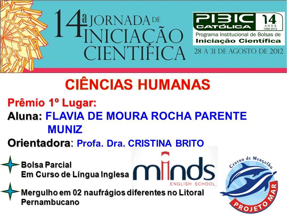 CIÊNCIAS HUMANAS Prêmio 1º Lugar: Aluna: FLAVIA DE MOURA ROCHA PARENTE