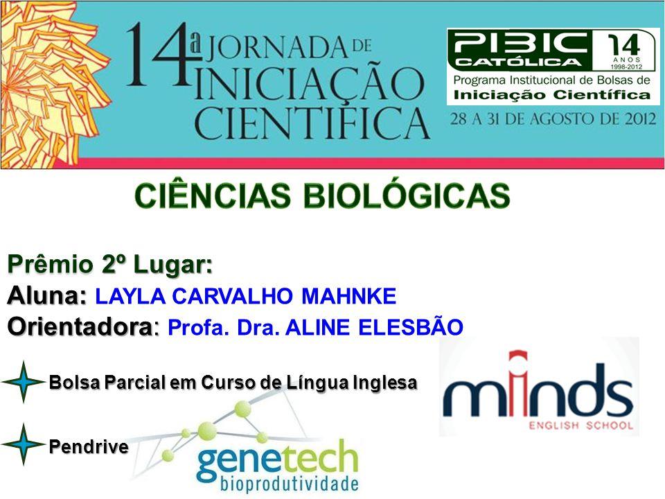 CIÊNCIAS BIOLÓGICAS Prêmio 2º Lugar: Aluna: LAYLA CARVALHO MAHNKE