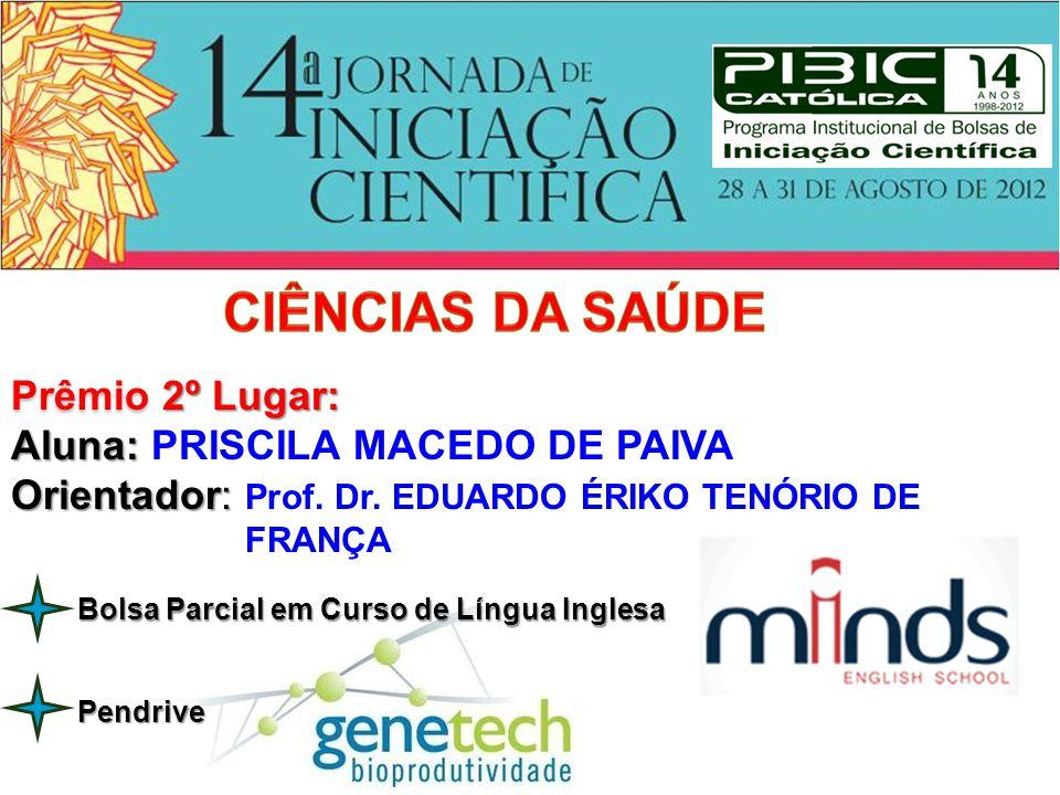 CIÊNCIAS DA SAÚDE Prêmio 2º Lugar: Aluna: PRISCILA MACEDO DE PAIVA