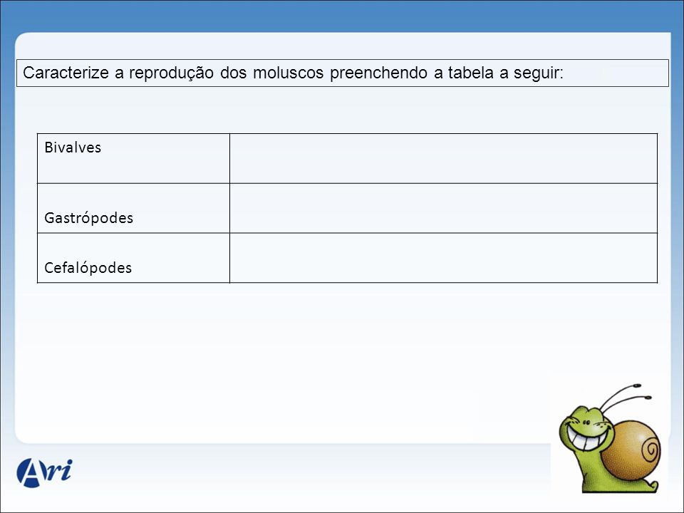 Caracterize a reprodução dos moluscos preenchendo a tabela a seguir: