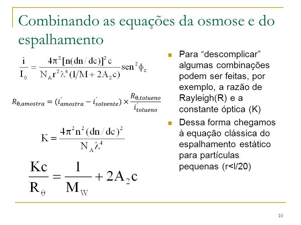 Combinando as equações da osmose e do espalhamento