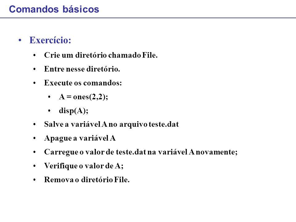 Comandos básicos Exercício: Crie um diretório chamado File.