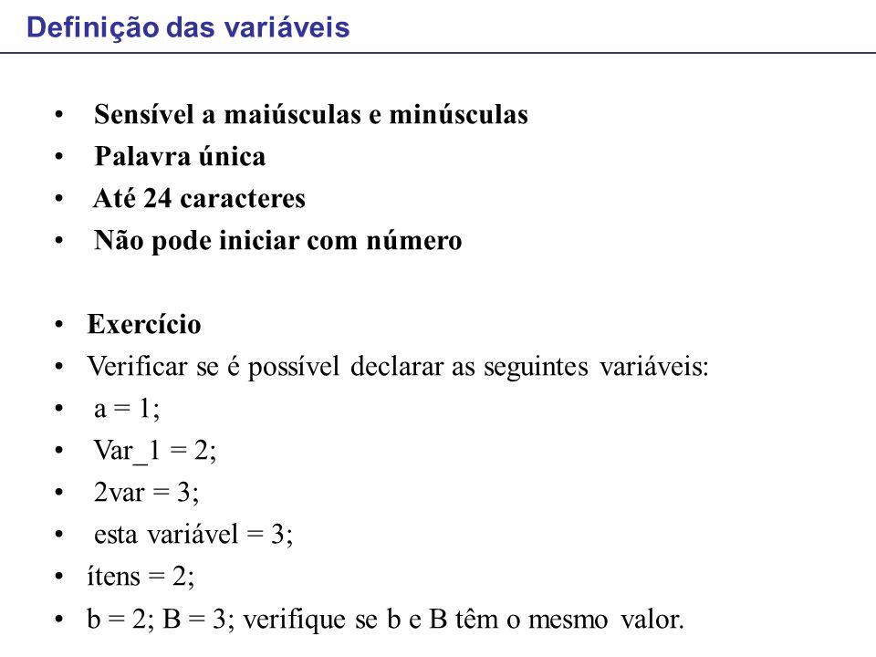 Definição das variáveis