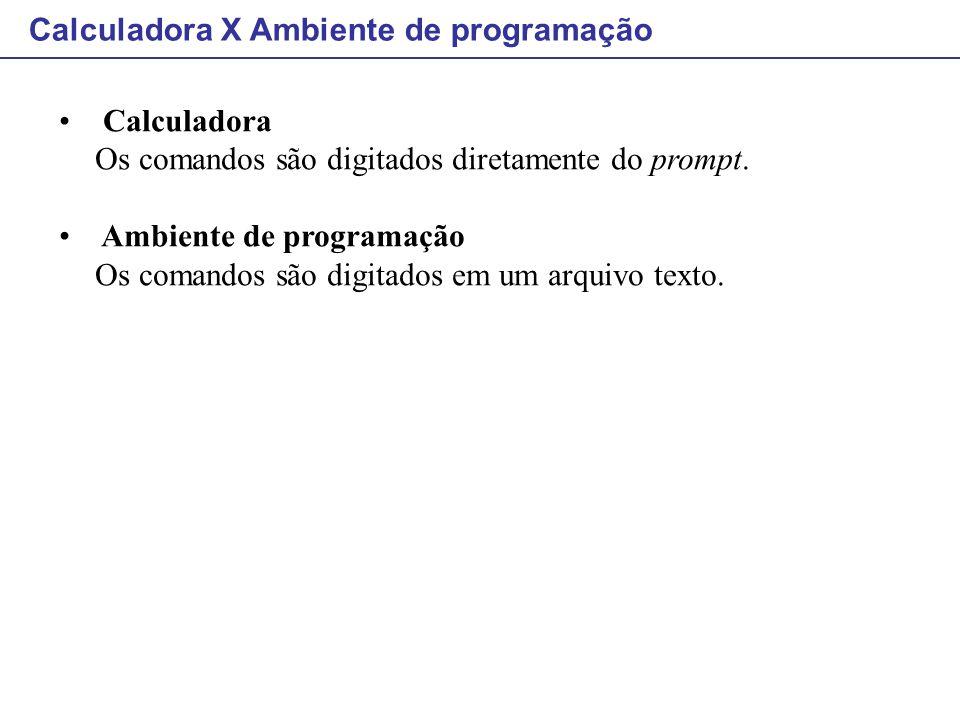 Calculadora X Ambiente de programação
