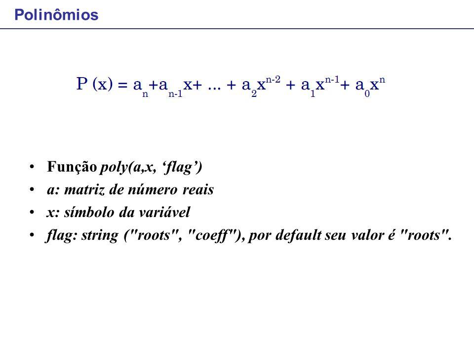 Polinômios Função poly(a,x, 'flag') a: matriz de número reais. x: símbolo da variável.