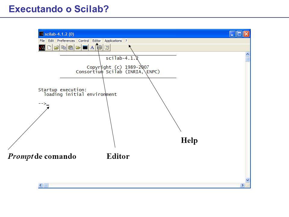 Executando o Scilab Help Prompt de comando Editor