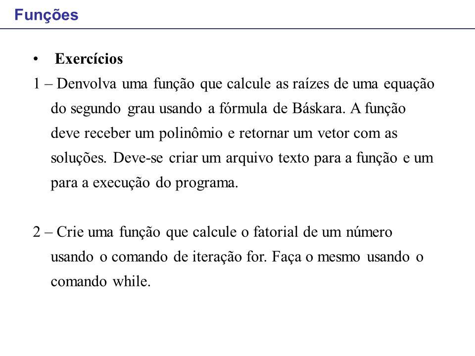 Funções Exercícios.