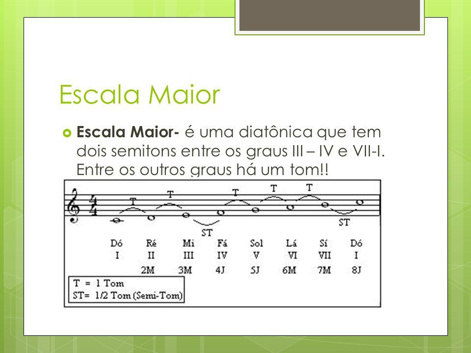 Escala Maior Escala Maior- é uma diatônica que tem dois semitons entre os graus III – IV e VII-I.