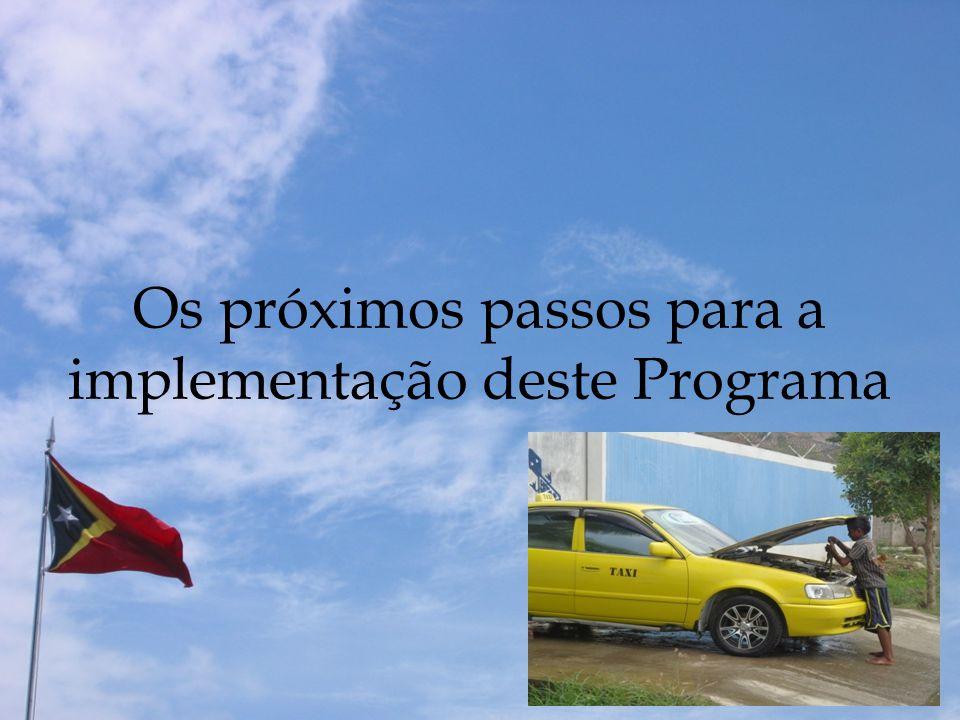 Os próximos passos para a implementação deste Programa
