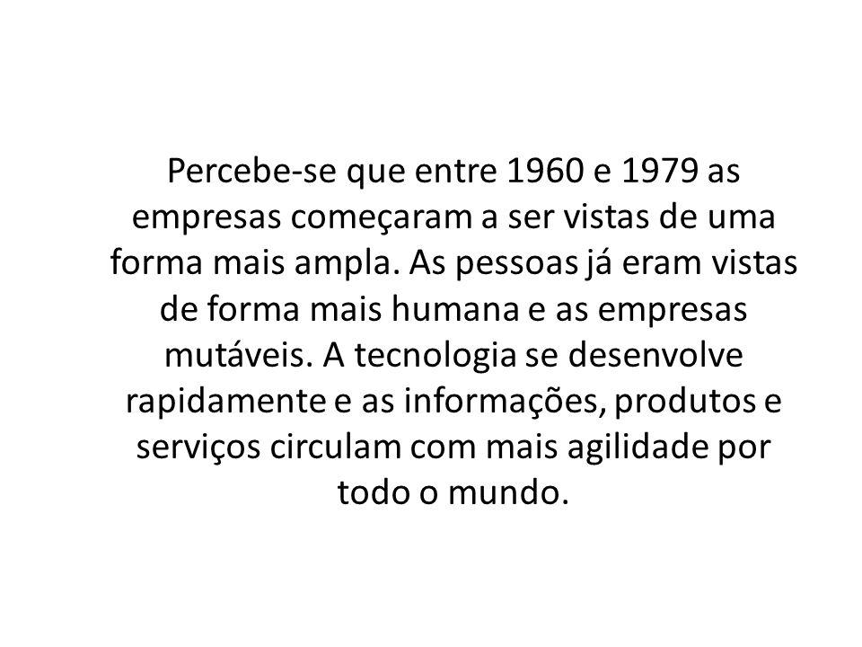 Percebe-se que entre 1960 e 1979 as empresas começaram a ser vistas de uma forma mais ampla.