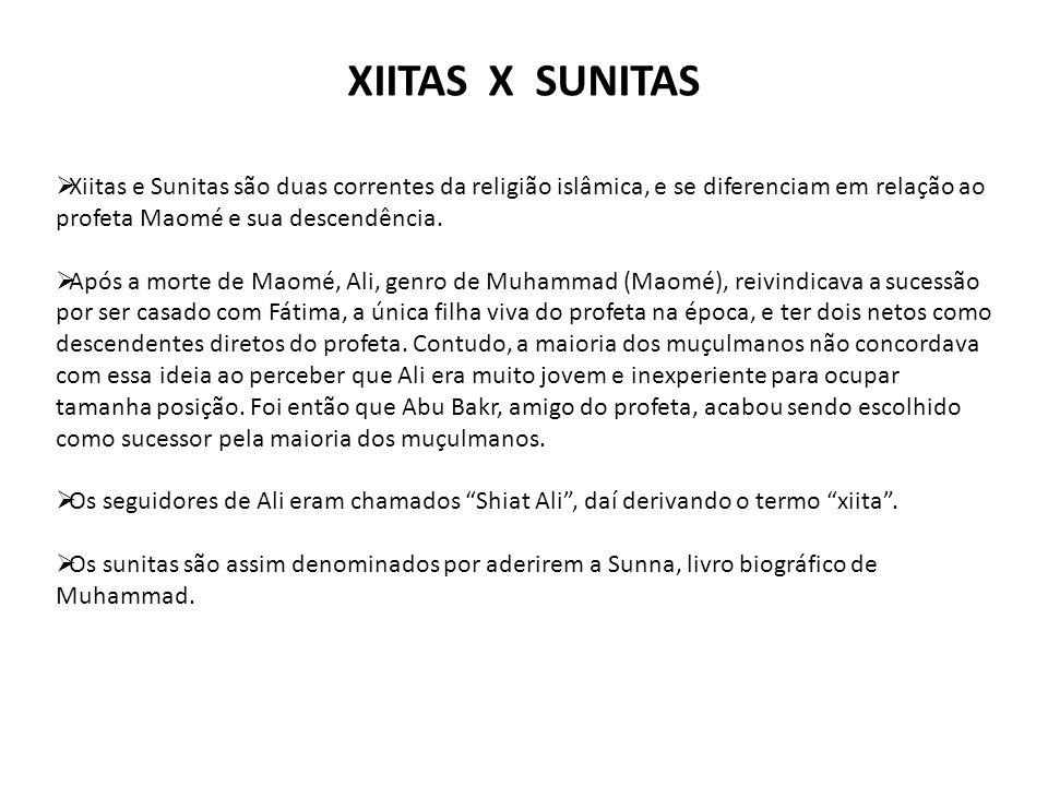 XIITAS X SUNITAS Xiitas e Sunitas são duas correntes da religião islâmica, e se diferenciam em relação ao profeta Maomé e sua descendência.