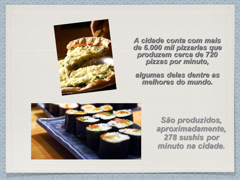 São produzidos, aproximadamente, 278 sushis por minuto na cidade.
