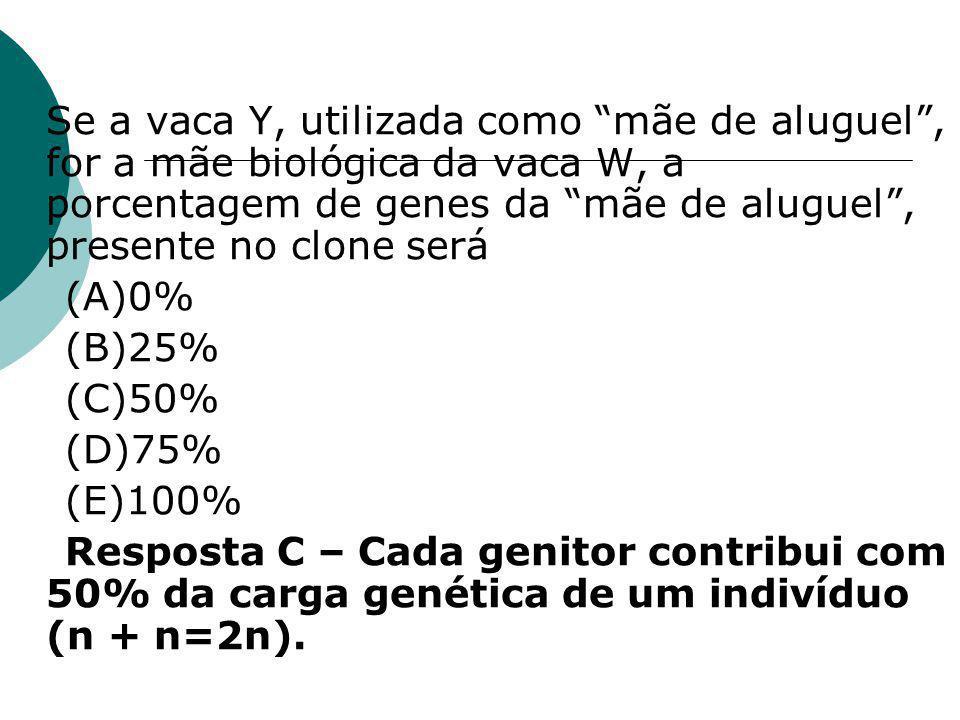 Se a vaca Y, utilizada como mãe de aluguel , for a mãe biológica da vaca W, a porcentagem de genes da mãe de aluguel , presente no clone será