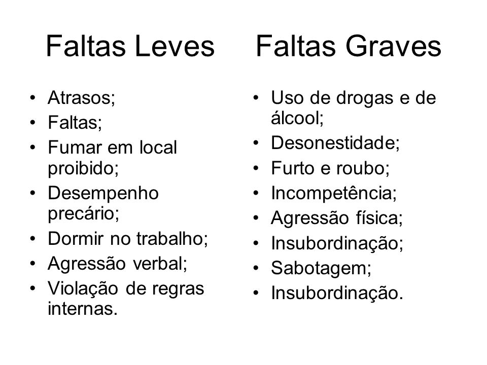 Faltas Leves Faltas Graves