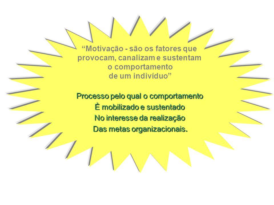 Motivação - são os fatores que provocam, canalizam e sustentam