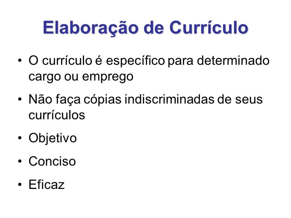 Elaboração de Currículo