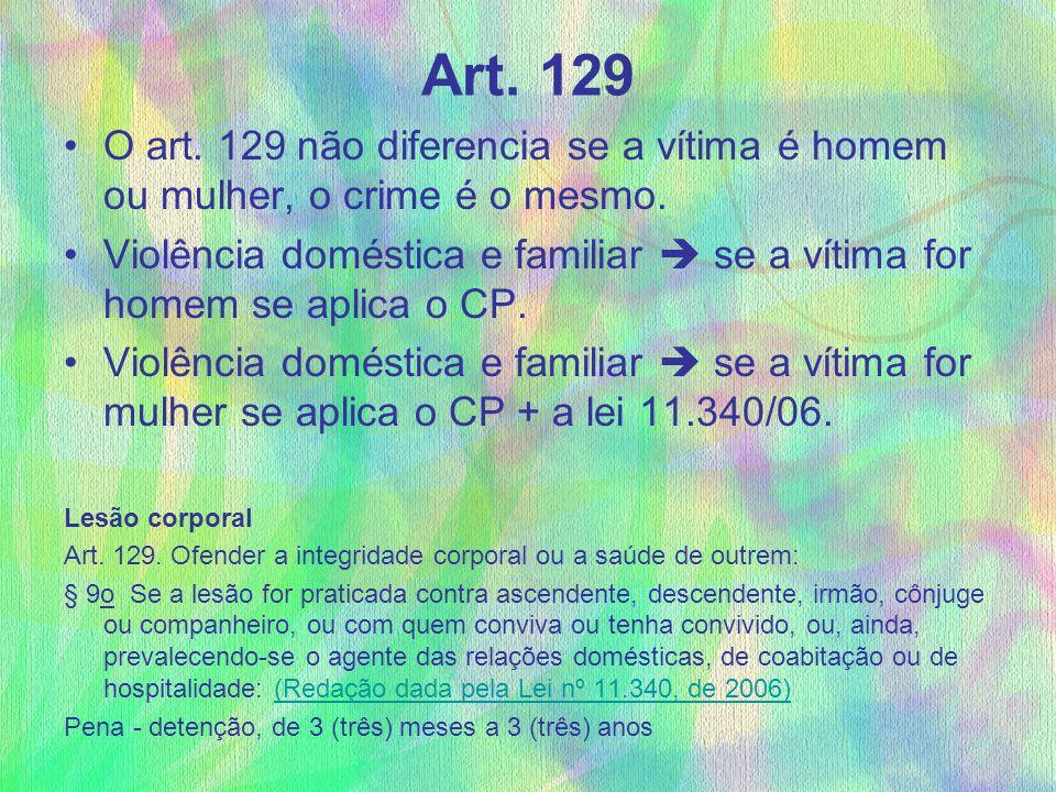 Art. 129 O art. 129 não diferencia se a vítima é homem ou mulher, o crime é o mesmo.