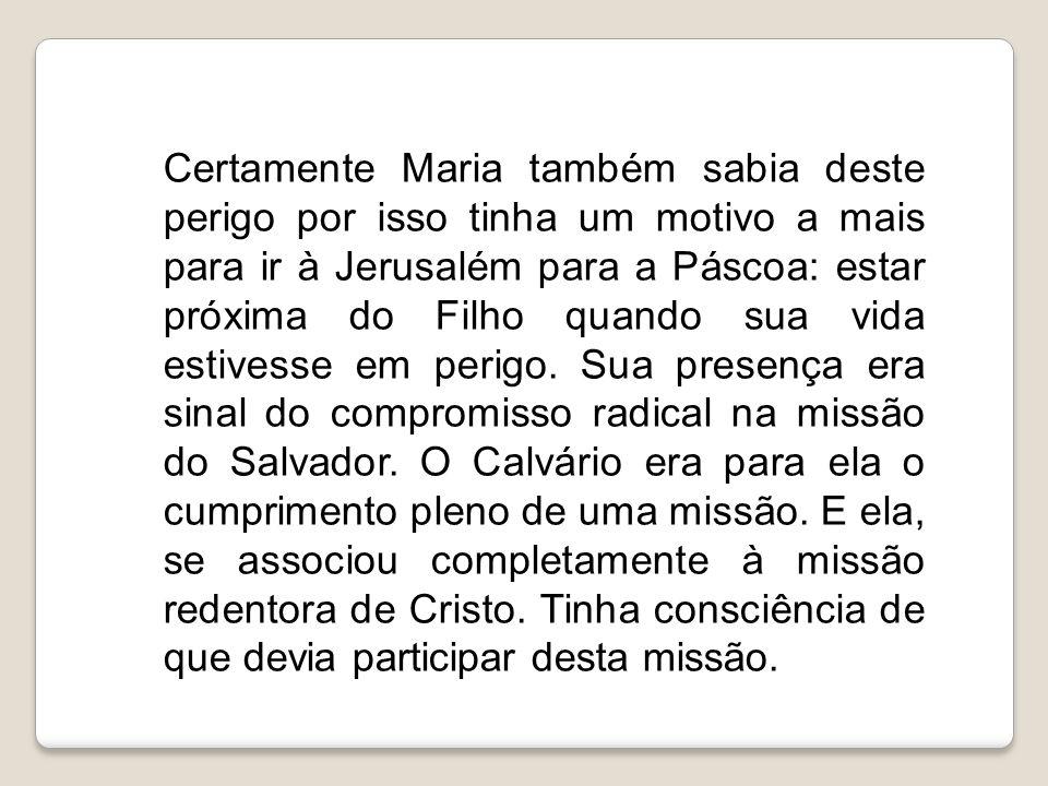 Certamente Maria também sabia deste perigo por isso tinha um motivo a mais para ir à Jerusalém para a Páscoa: estar próxima do Filho quando sua vida estivesse em perigo.