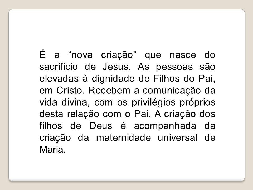 É a nova criação que nasce do sacrifício de Jesus