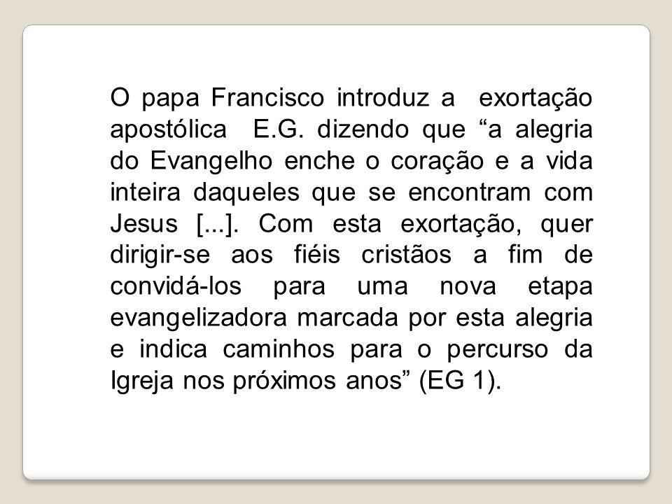 O papa Francisco introduz a exortação apostólica E. G