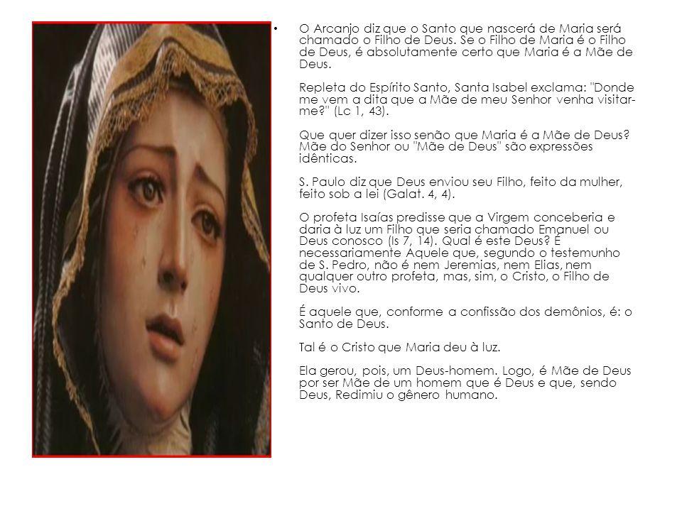 O Arcanjo diz que o Santo que nascerá de Maria será chamado o Filho de Deus.