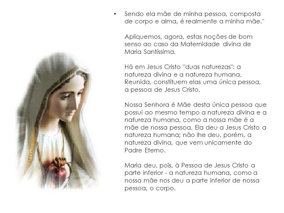 Sendo ela mãe de minha pessoa, composta de corpo e alma, é realmente a minha mãe. Apliquemos, agora, estas noções de bom senso ao caso da Maternidade divina de Maria Santíssima.