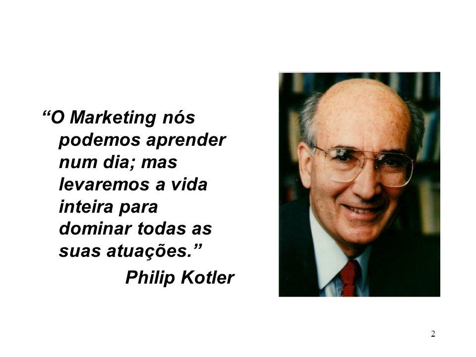 O Marketing nós podemos aprender num dia; mas levaremos a vida inteira para dominar todas as suas atuações.