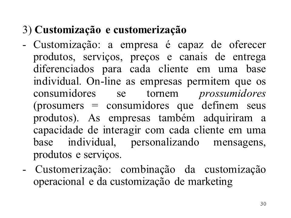 3) Customização e customerização