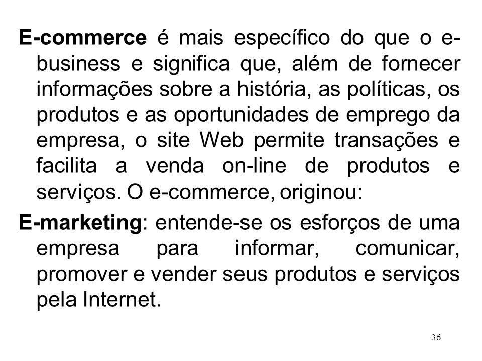 E-commerce é mais específico do que o e-business e significa que, além de fornecer informações sobre a história, as políticas, os produtos e as oportunidades de emprego da empresa, o site Web permite transações e facilita a venda on-line de produtos e serviços. O e-commerce, originou: