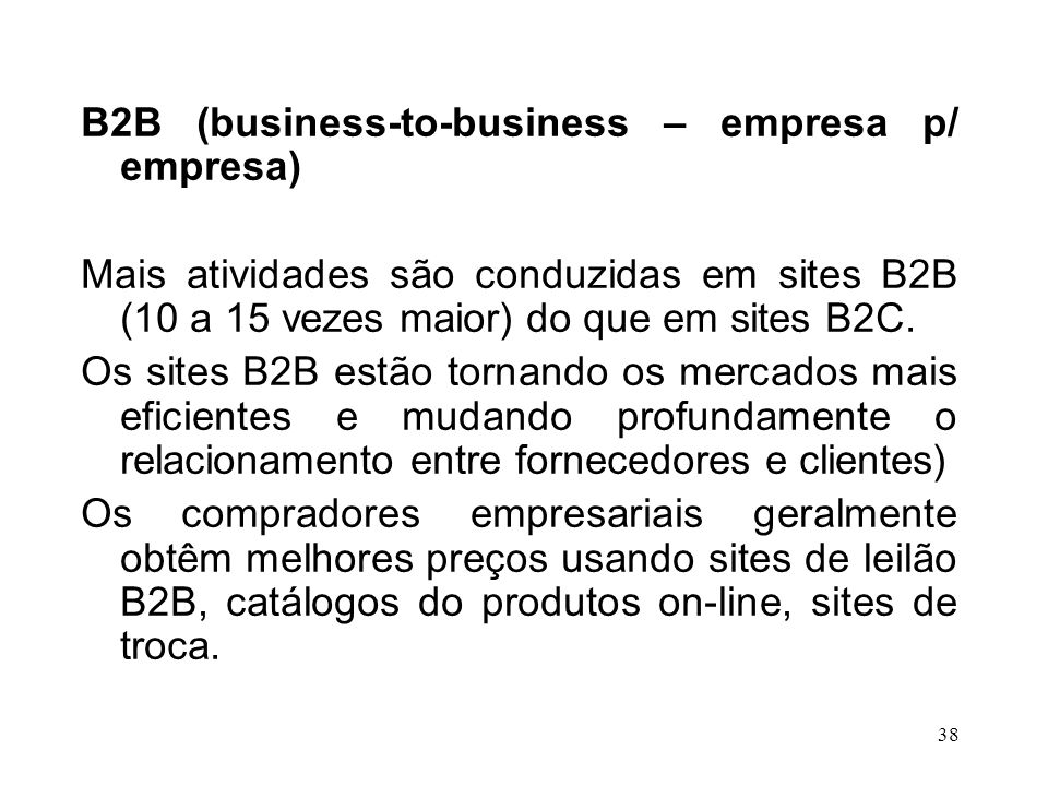B2B (business-to-business – empresa p/ empresa)