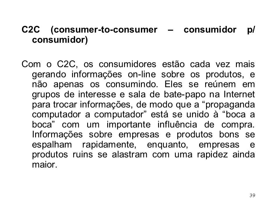 C2C (consumer-to-consumer – consumidor p/ consumidor)