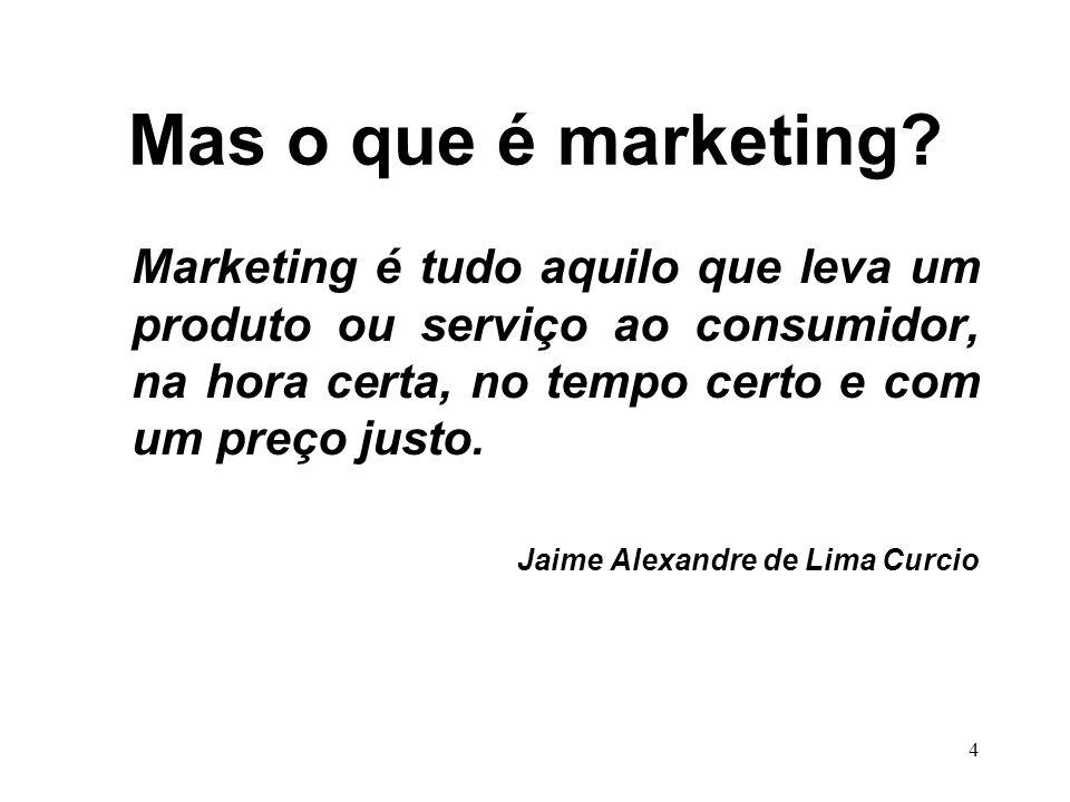 Mas o que é marketing Marketing é tudo aquilo que leva um produto ou serviço ao consumidor, na hora certa, no tempo certo e com um preço justo.
