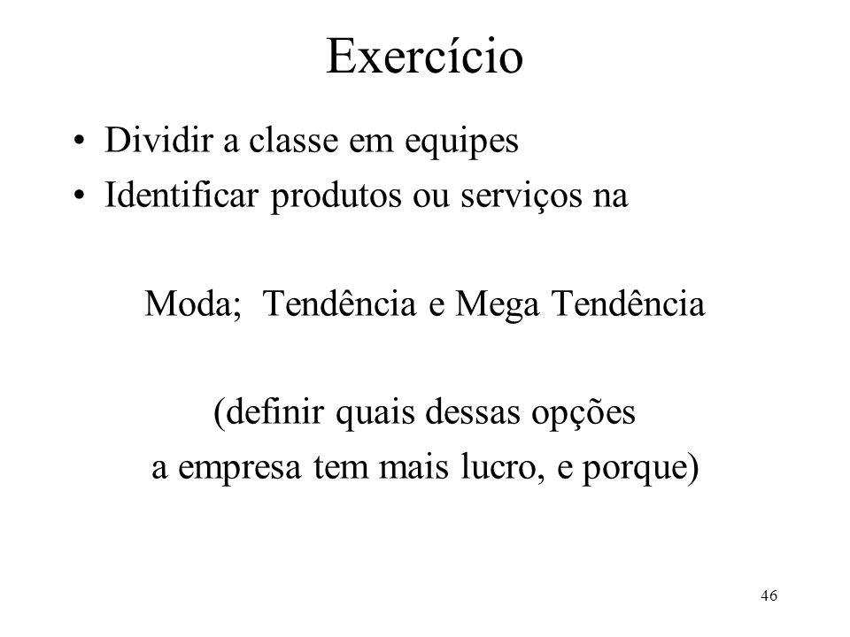 Exercício Dividir a classe em equipes