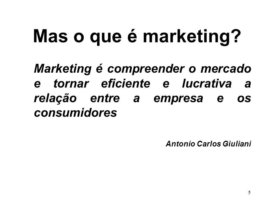 Mas o que é marketing Marketing é compreender o mercado e tornar eficiente e lucrativa a relação entre a empresa e os consumidores.