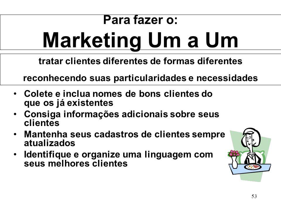 Para fazer o: Marketing Um a Um