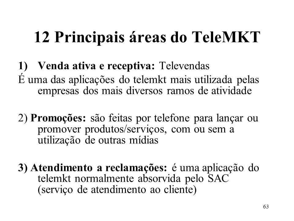 12 Principais áreas do TeleMKT