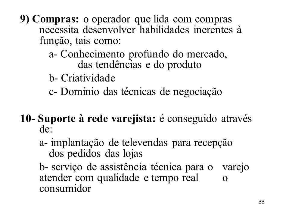 9) Compras: o operador que lida com compras necessita desenvolver habilidades inerentes à função, tais como:
