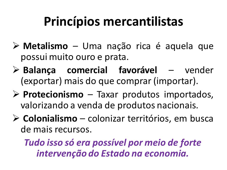 Princípios mercantilistas