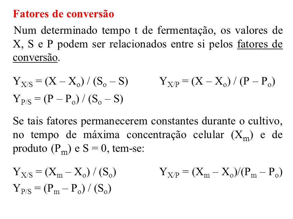 YX/S = (X – Xo) / (So – S) YX/P = (X – Xo) / (P – Po)