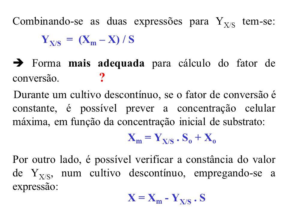Combinando-se as duas expressões para YX/S tem-se: YX/S = (Xm – X) / S