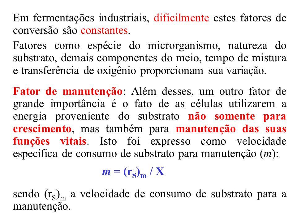 sendo (rS)m a velocidade de consumo de substrato para a manutenção.