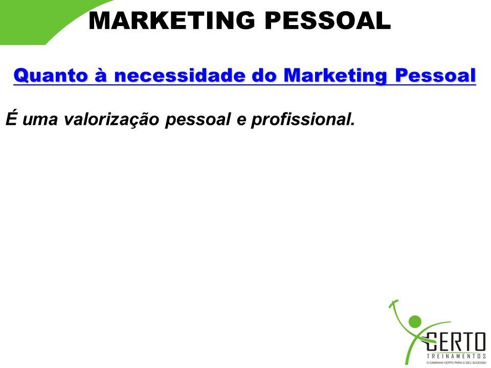 Quanto à necessidade do Marketing Pessoal