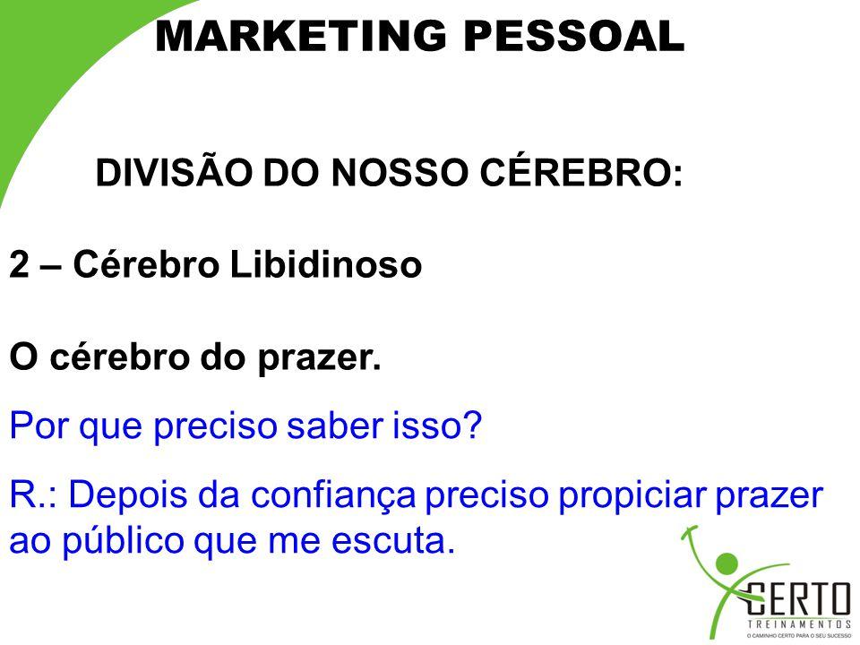 MARKETING PESSOAL DIVISÃO DO NOSSO CÉREBRO: 2 – Cérebro Libidinoso