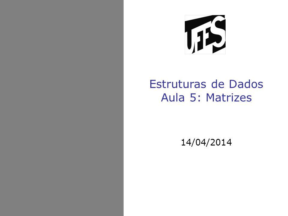 Estruturas de Dados Aula 5: Matrizes