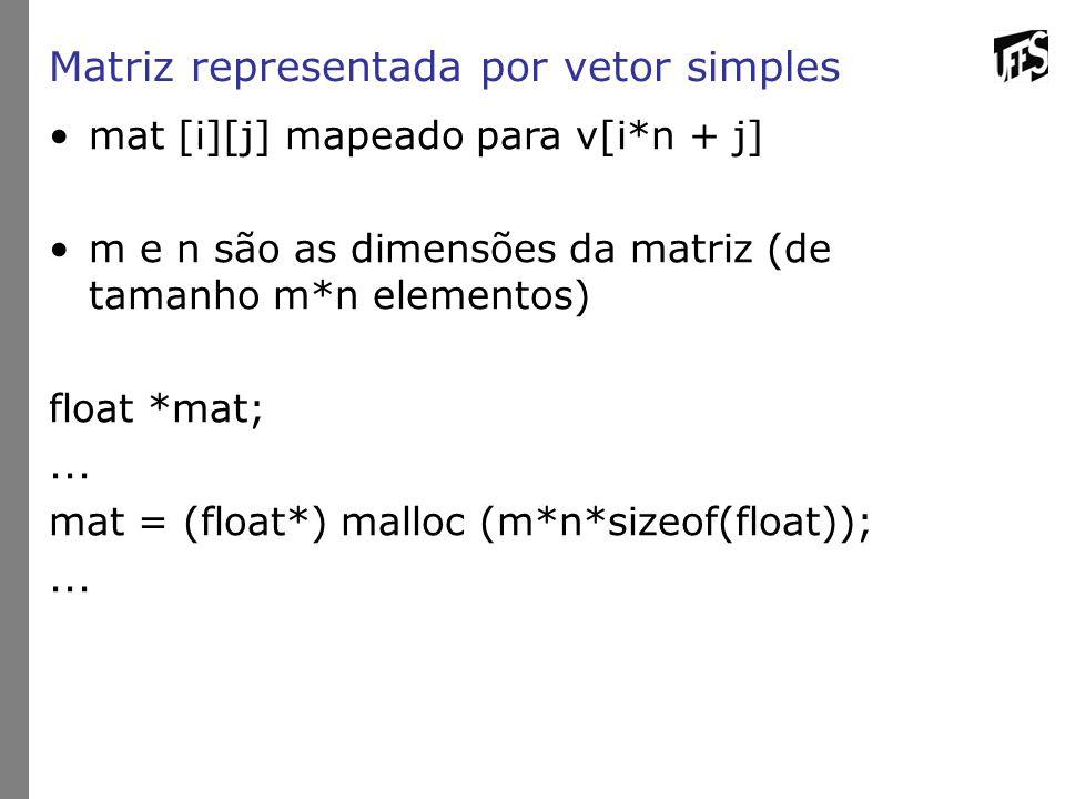 Matriz representada por vetor simples